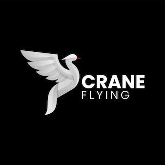 Векторная иллюстрация логотипа летающий журавль градиентом красочный стиль