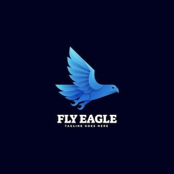 Векторная иллюстрация логотипа полет орла градиентом красочный стиль