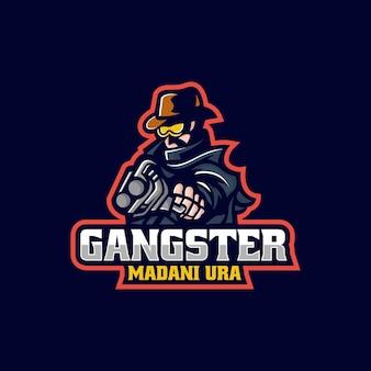 Векторная иллюстрация логотипа гангстера e спорт и спортивный стиль