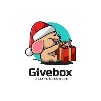 Vector logo illustration give box mascot cartoon style.
