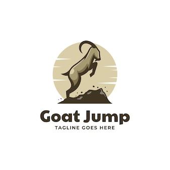 벡터 로고 일러스트 염소 점프 간단한 마스코트 스타일