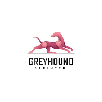 Vector logo illustration greyhound gradient colorful style