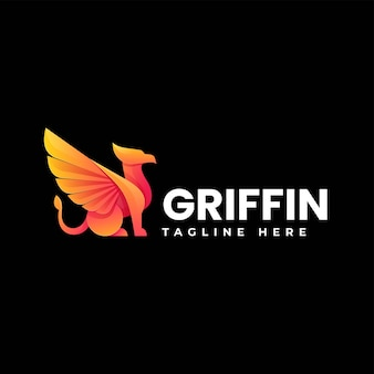Vector logo illustration griffin gradient colorful style