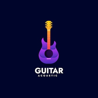 Vector logo illustration guitar gradient colorful style