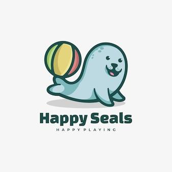 Векторная иллюстрация логотипа happy seal простой стиль талисмана.