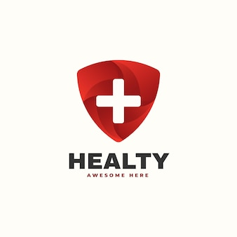 Vector logo illustration healthy gradient colorful style
