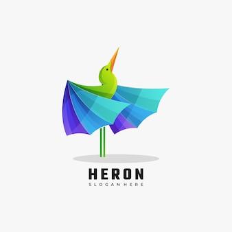 Векторная иллюстрация логотипа heron градиент красочный стиль.
