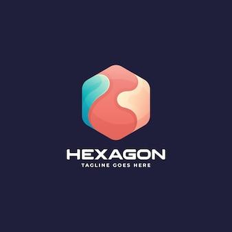 Vector logo illustration hexagon gradient colorful style