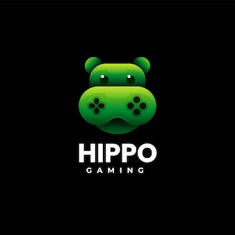 Vector logo illustration hippo gaming gradient colorful style