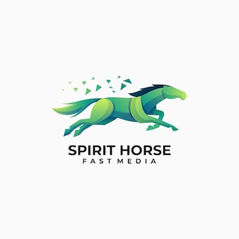 Vector logo illustration horse gradient colorful style