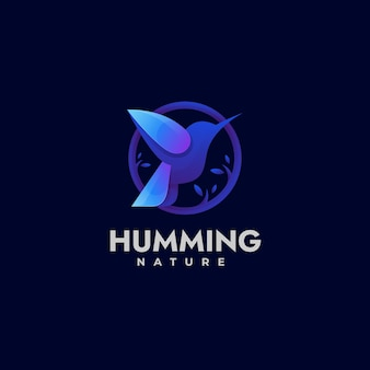 Vector logo illustration humming gradient colorful style