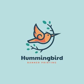 Vector logo illustration hummingbird simple mascot style
