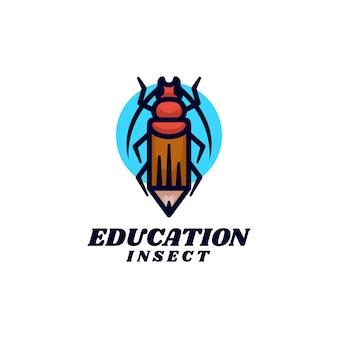 Векторная иллюстрация логотип насекомых карандашом стиле двойного смысла