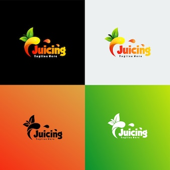 Vector logo illustration juicing gradient colorful style.