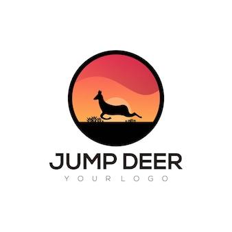 Vector logo illustration jump deer gradient colorful style