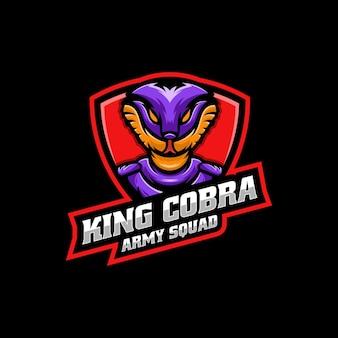Vector logo illustration king cobra e sport and sport style