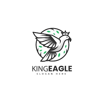 Векторная иллюстрация логотипа короля орла градиентом линии арт стиле