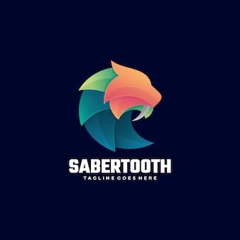 Векторный логотип иллюстрации леопард градиент красочный стиль.