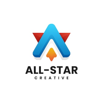 Vector logo illustration letter a star gradient colorful style