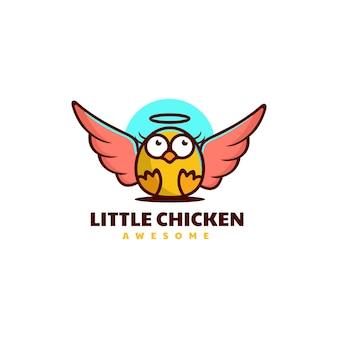 Vector logo illustration little chicken mascot cartoon style