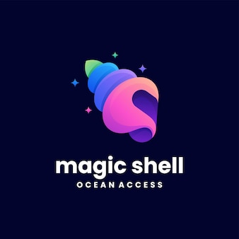 Vector logo illustration magic shell gradient colorful style