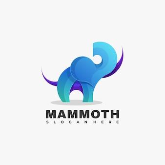 Векторная иллюстрация логотип мамонта градиентом красочный стиль