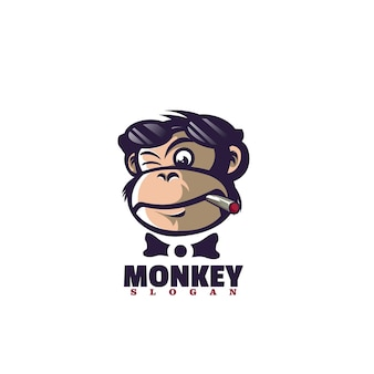 Vector logo illustration monkey mascot cartoon style