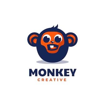 벡터 로고 일러스트 원숭이 간단한 마스코트 스타일
