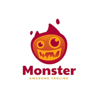 Vector logo illustration monster gradient colorful style