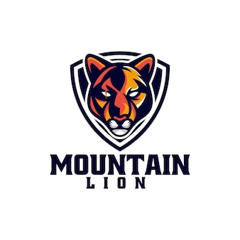 Vector logo illustration mountain lion e sport and sport style