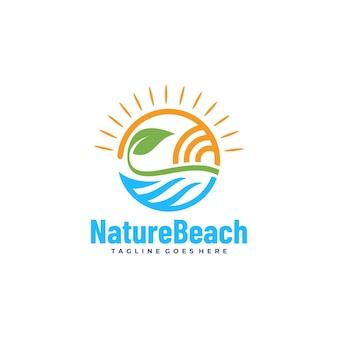 벡터 로고 그림 자연 해변 라인 아트 스타일입니다.