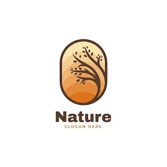 Векторная иллюстрация логотипа природы стиле простой талисман
