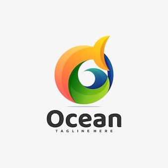 Vector logo illustration ocean gradient colorful style