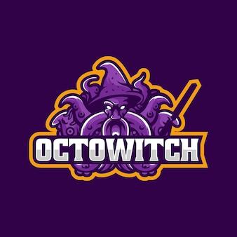 Векторная иллюстрация логотипа осьминог ведьма e спорт и спортивный стиль