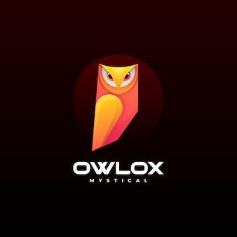 Векторная иллюстрация логотип сова градиентом красочный стиль