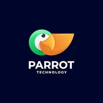 Векторная иллюстрация логотипа попугай градиентом красочный стиль