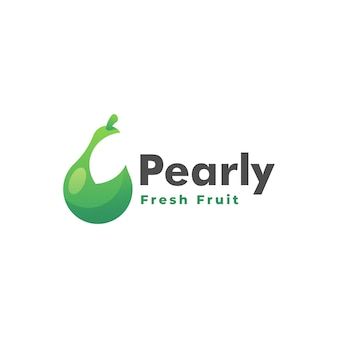 Vector logo illustration pear gradient colorful style