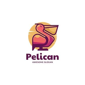 Векторная иллюстрация логотипа пеликан стиле простой талисман