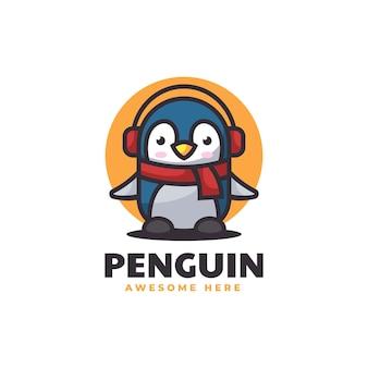 Vector logo illustration penguin mascot cartoon style
