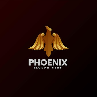 Векторная иллюстрация логотипа феникс градиентом красочный стиль