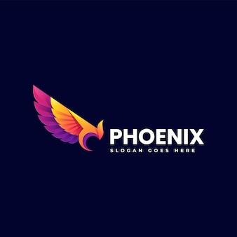 Vector logo illustration phoenix gradient colorful style
