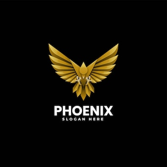 Vector logo illustration phoenix gradient colorful style.