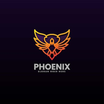 Vector logo illustration phoenix gradient line art style