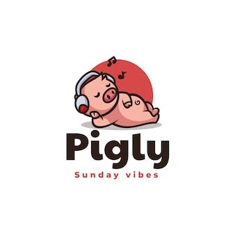 Vector logo illustration pig mascot cartoon style