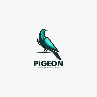 Vector logo illustration pigeon mascot cartoon style.