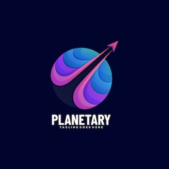 Vector logo illustration planet gradient colorful style.