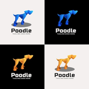 Vector logo illustration poodle gradient colorful style.