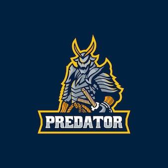 Векторная иллюстрация логотипа хищник самурай e спорт и спортивный стиль