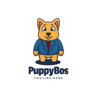 Vector logo illustration puppy boss simple mascot style.