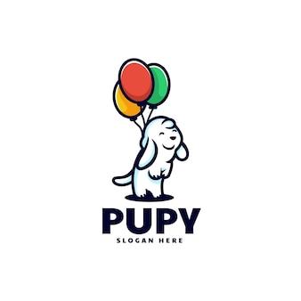 Векторная иллюстрация логотипа щенок стиле простой талисман